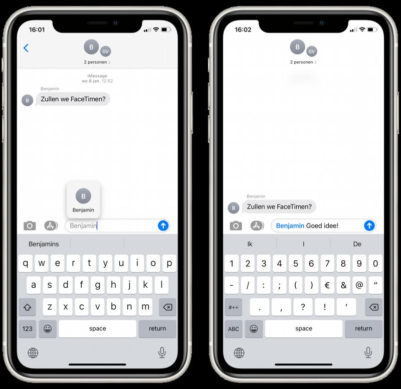 iMessage in iOS 14: vermeldingen en direct antwoorden.