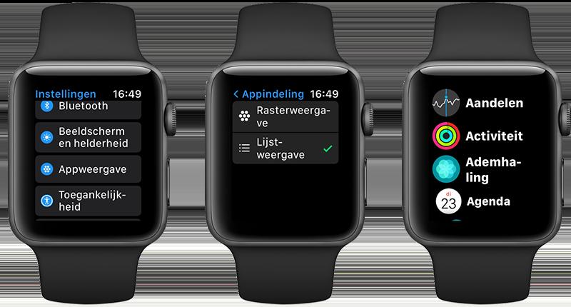 Lijstweergave van apps vanaf watchOS 7