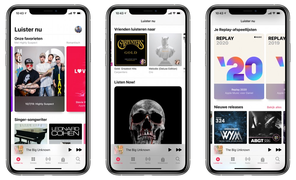 Luister nu tabblad Apple Music iOS 14
