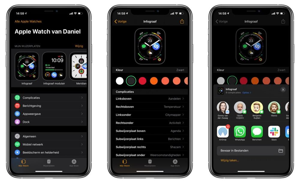 Wijzerplaat delen vanaf iPhone