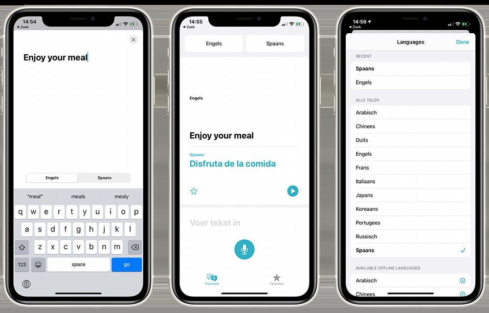 Vertaal-app in gebruik