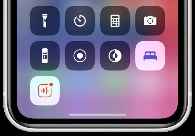 iOS 14: Bedieningspaneel met knop voor Slaapmodus.
