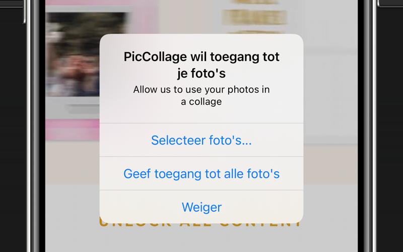 iOS 14: app vraagt toestemming tot foto's.