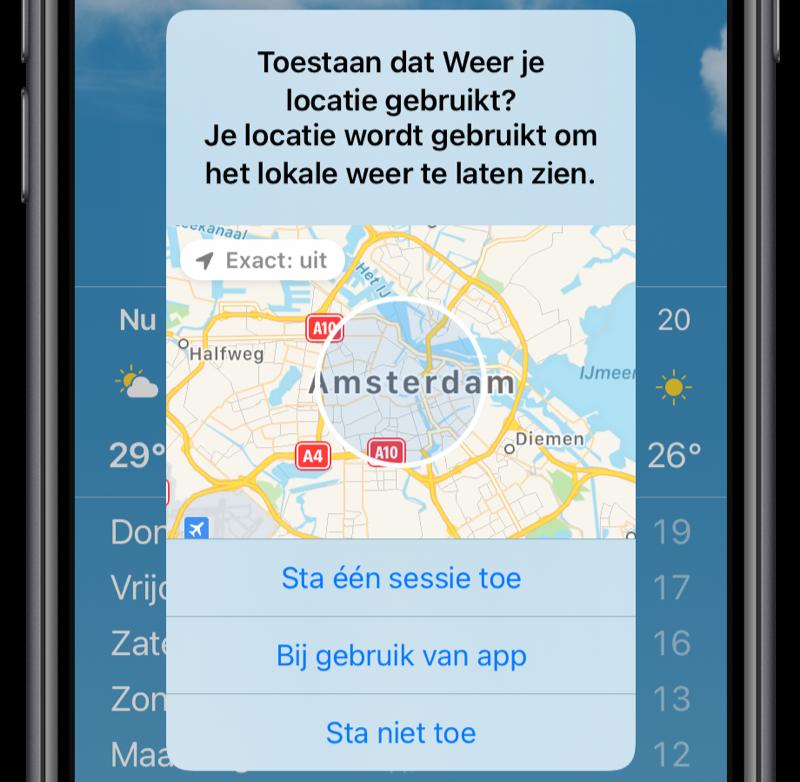 iOS 14: locatie exact delen uitschakelen.