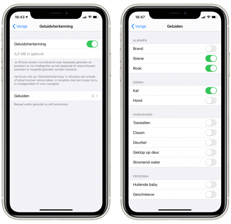 iOS 14: Geluidsherkenning