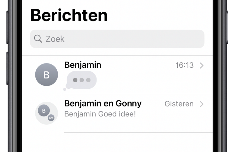 iOS 14: Typindicatie in iMessage.