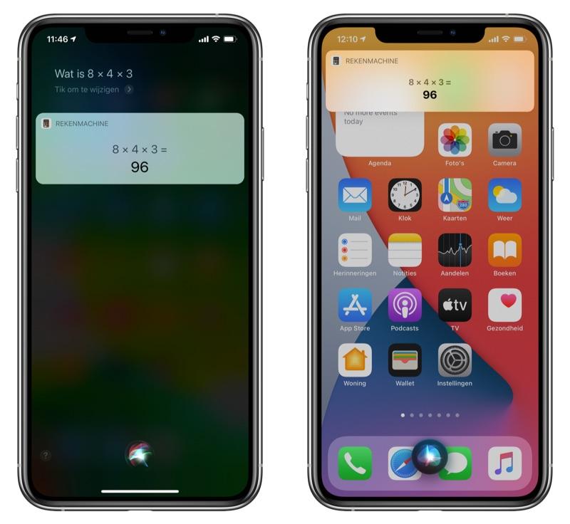 Siri volledig scherm versus iOS 14 notificatie