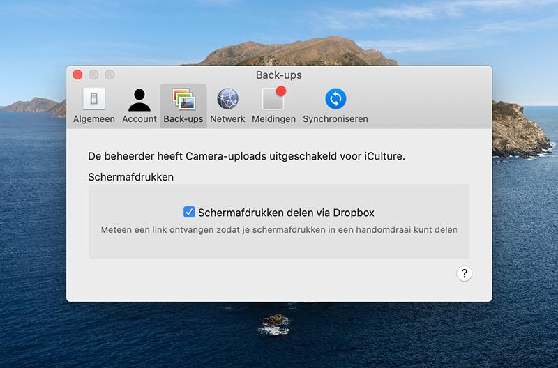 Dropbox screenshots backup maken