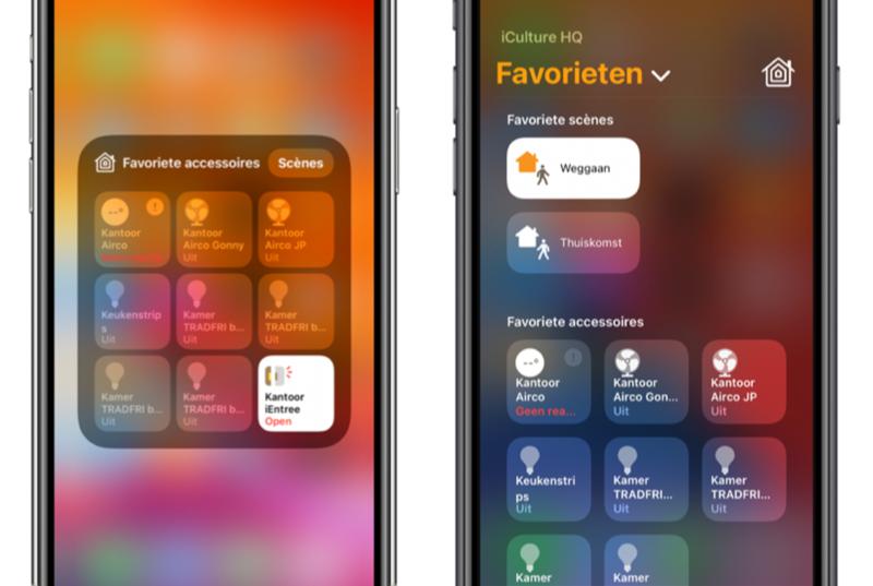 HomeKit in het Bedieningspaneel in iOS 13 en iOS 14.