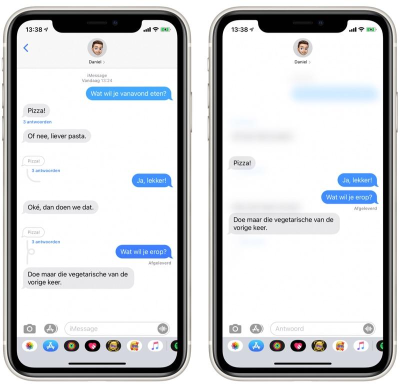 Direct reageren op berichten in iMessage