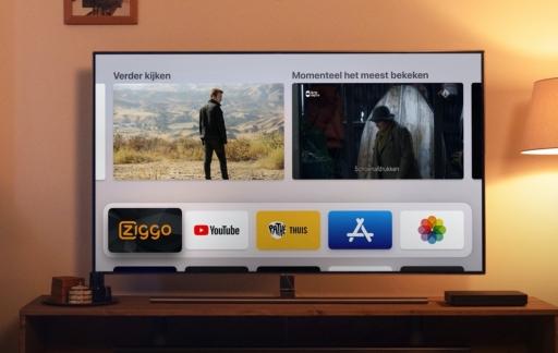 Ziggo op Apple TV in de woonkamer.