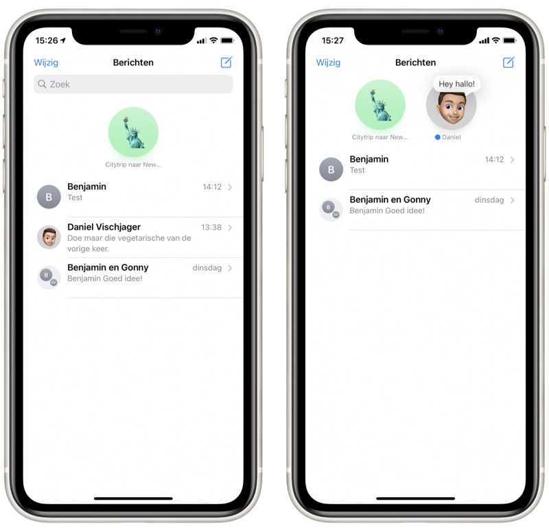 iMessage gesprekken vastzetten iOS 14