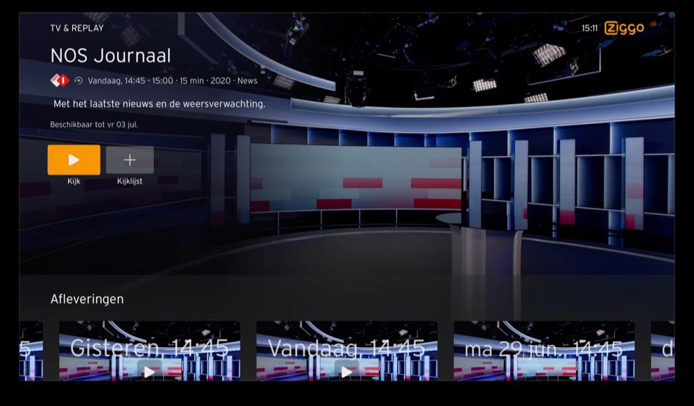 Ziggo op Apple TV: details van programma bekijken (NOS).