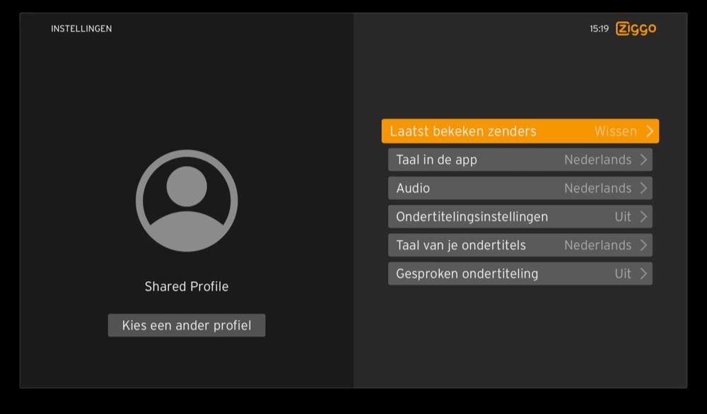 Profielen in Ziggo op Apple TV.