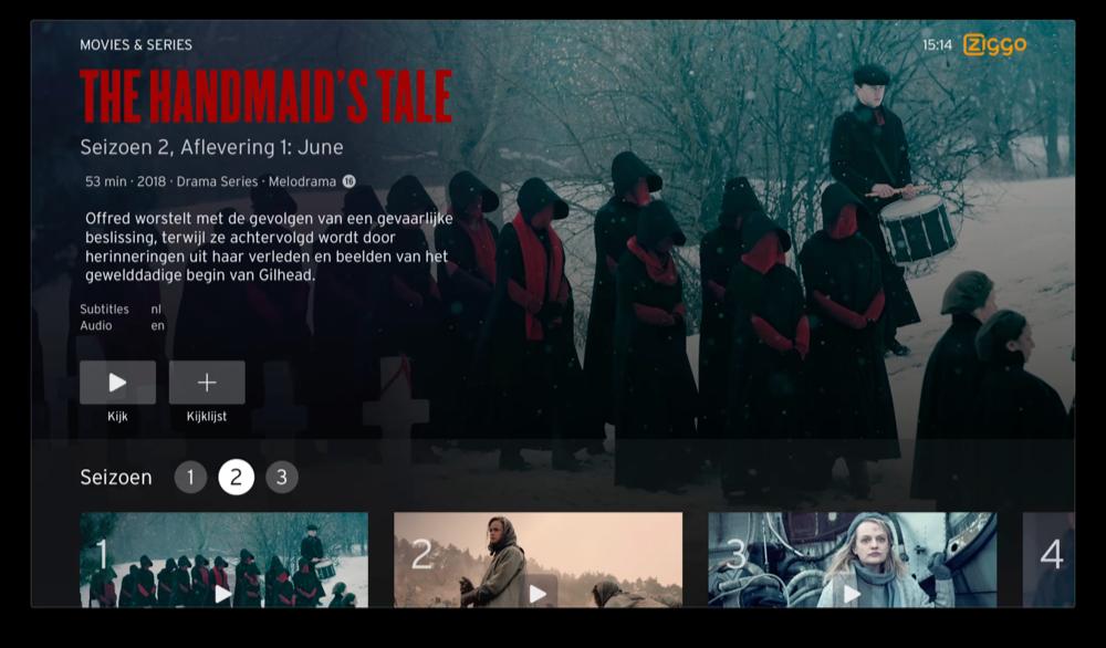 Ziggo op Apple TV met afleveringen van series (Handmaid's Tale).