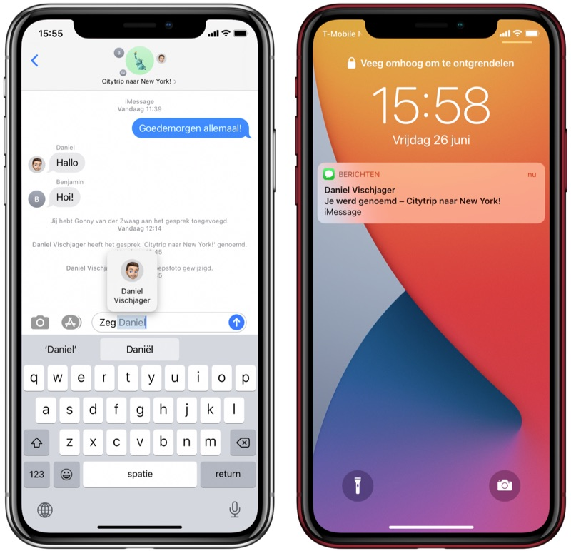 Vermeldingen in iMessage iOS 14