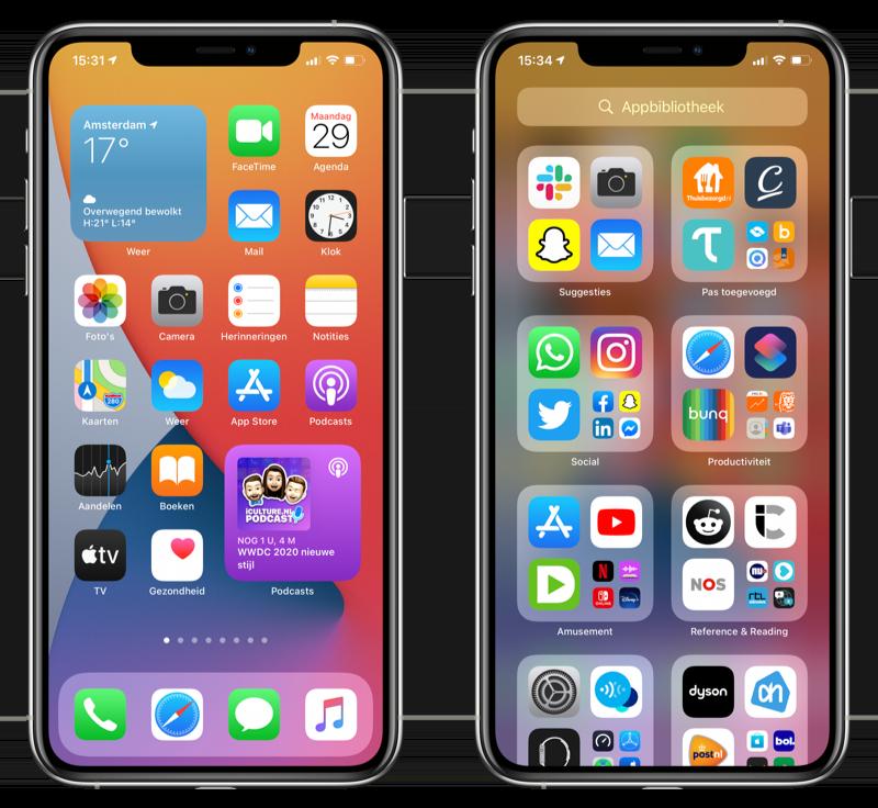 iOS 14 beginscherm en Appbibliotheek