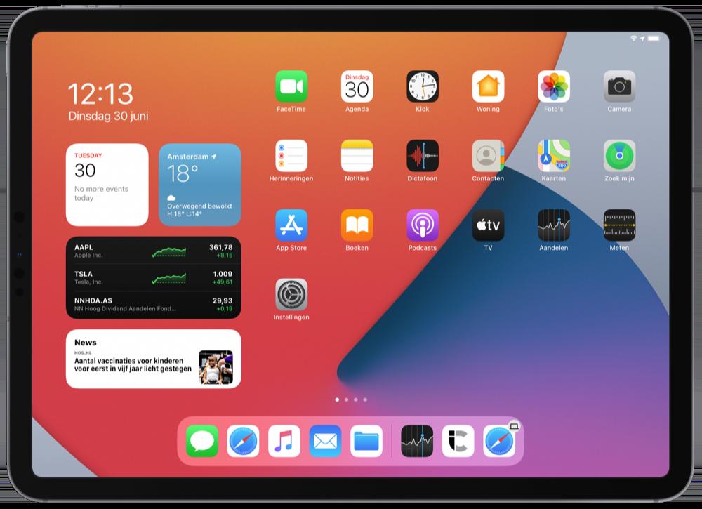 iPadOS 14 beginscherm