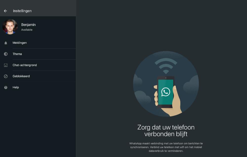 WhatsApp dark mode op de desktop.