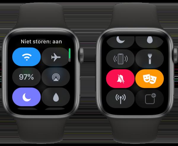 Bedieningspaneel Apple Watch met Niet storen en Theatermodus aan