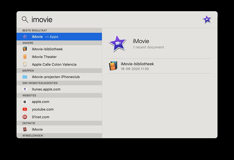 Mac-apps zoeken met Spotlight