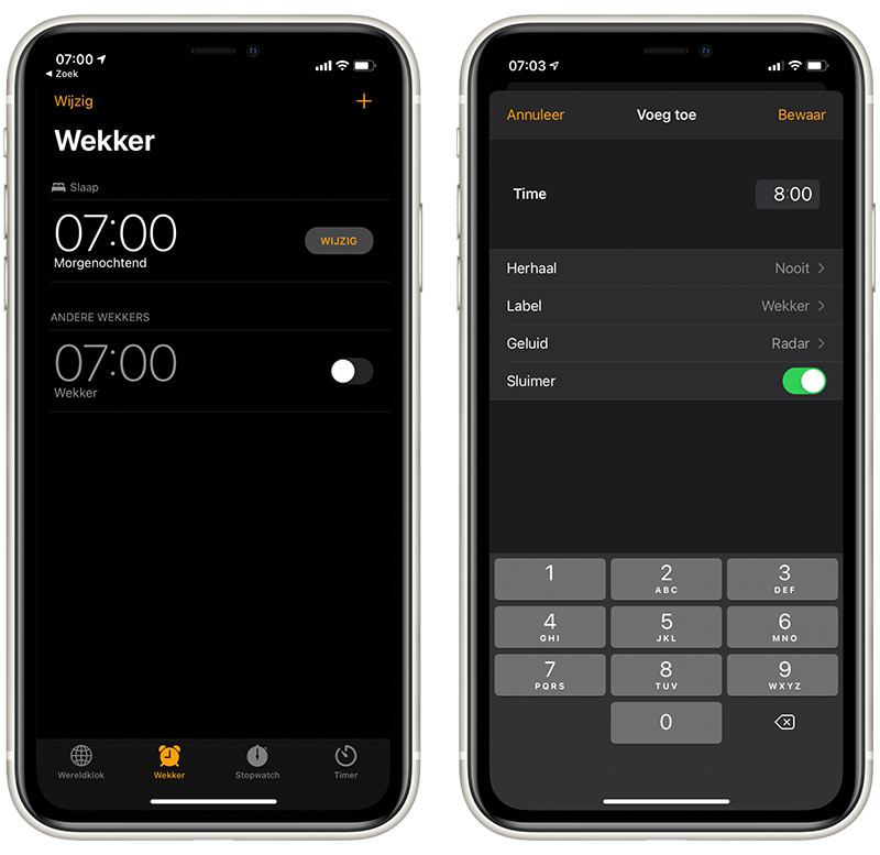 Wekker in iOS 14