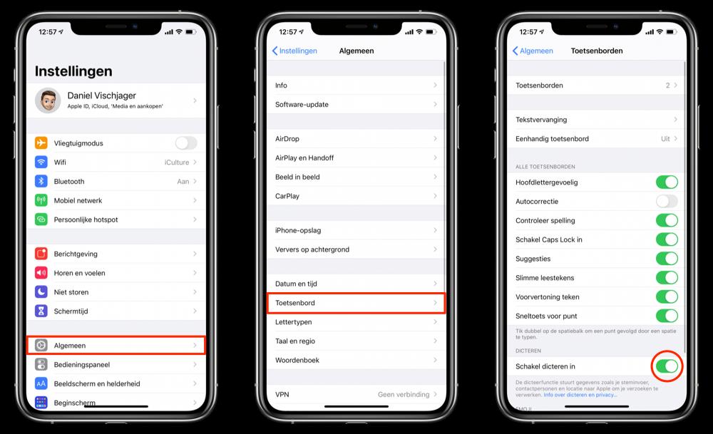 Dicteren inschakelen op iOS