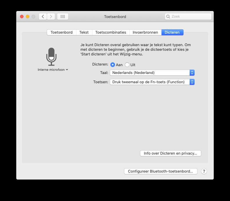 Dicteren op Mac instellen