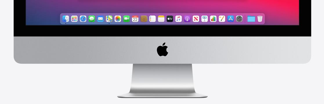 macOS Big Sur Dock met icoontjes iMac