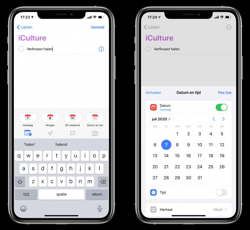 Datum kiezen voor Herinnering in iOS 14