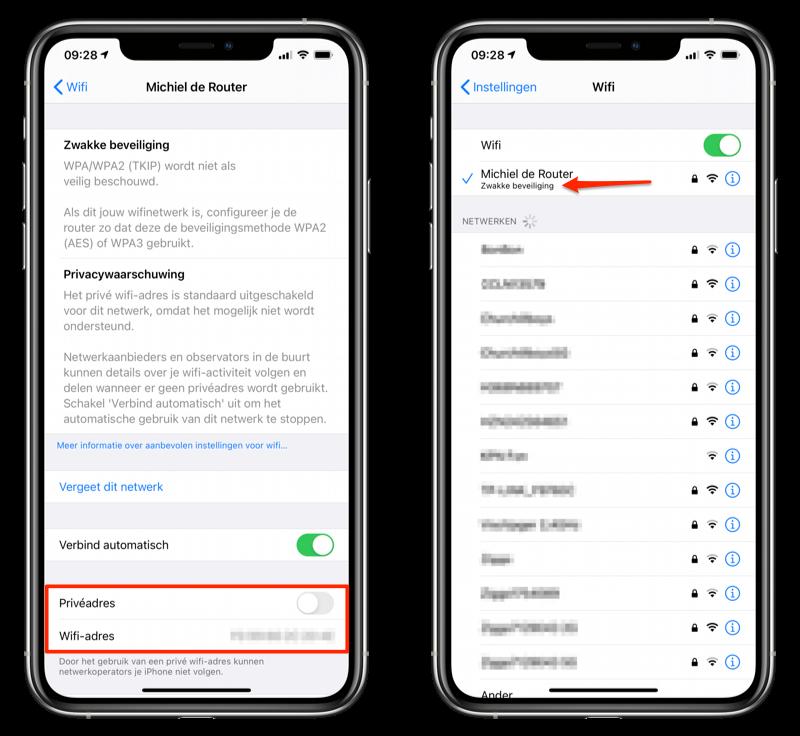 Onveilig netwerk iOS 14 beta 2