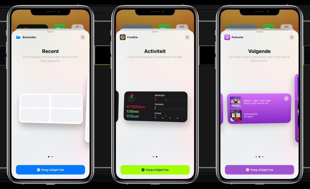 Nieuwe kleuren voor widgets en Bestanden-widget