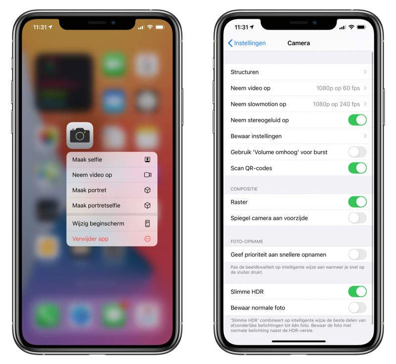 Camera instellingen en symbolen iOS 14