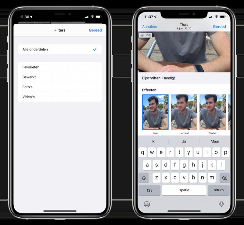 Filters en bijschriften iOS 14 Foto's-app