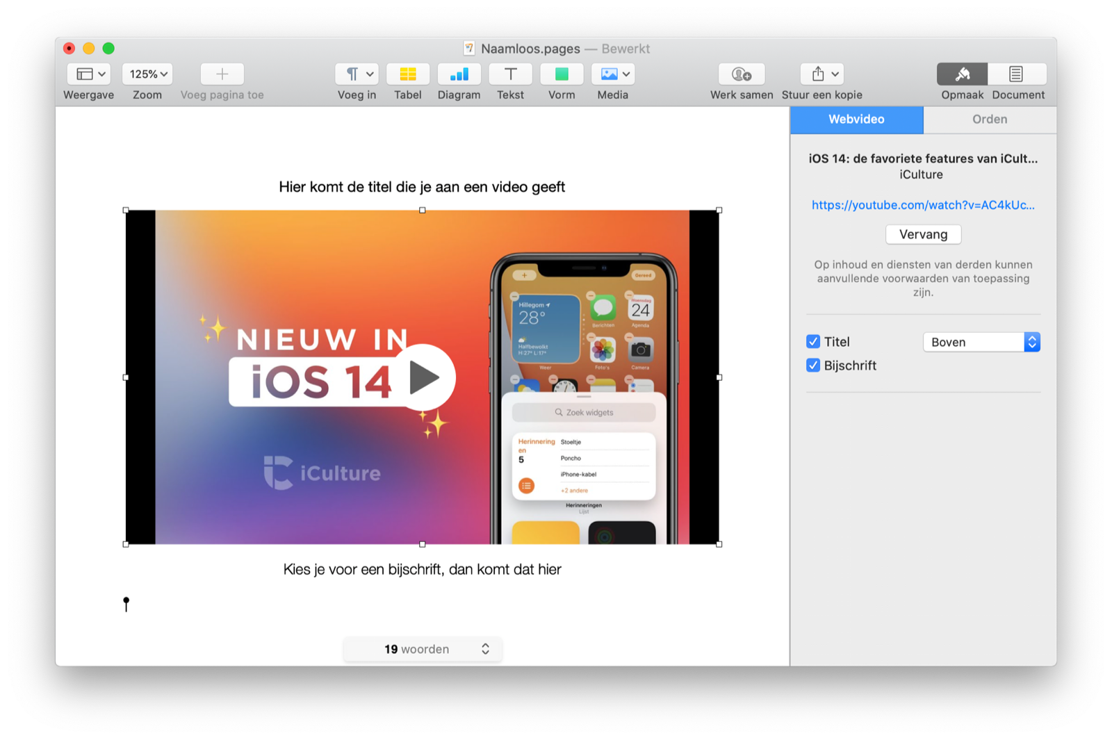 Video plakken in Pages voor Mac