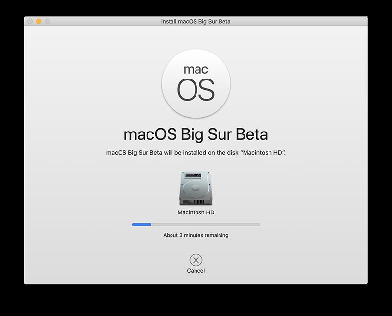 macOS Big Sur installatie gaat van start