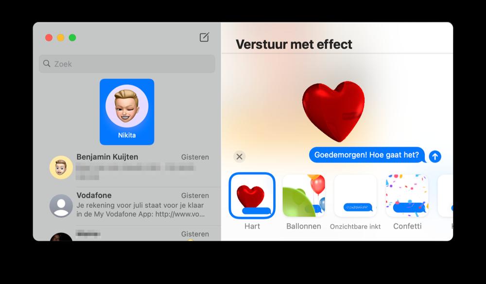 iMessage effect macOS Big Sur