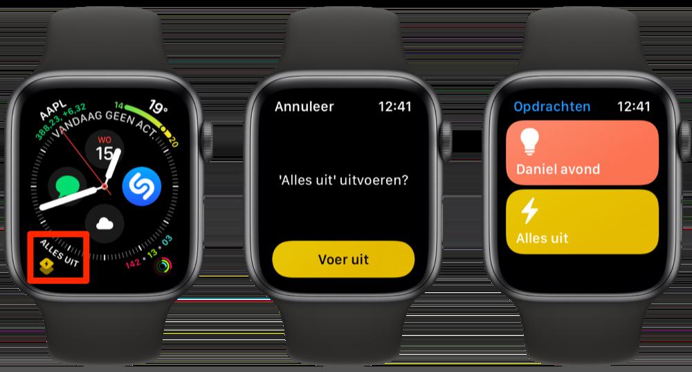 Opdrachten complicatie en app voor Apple Watch