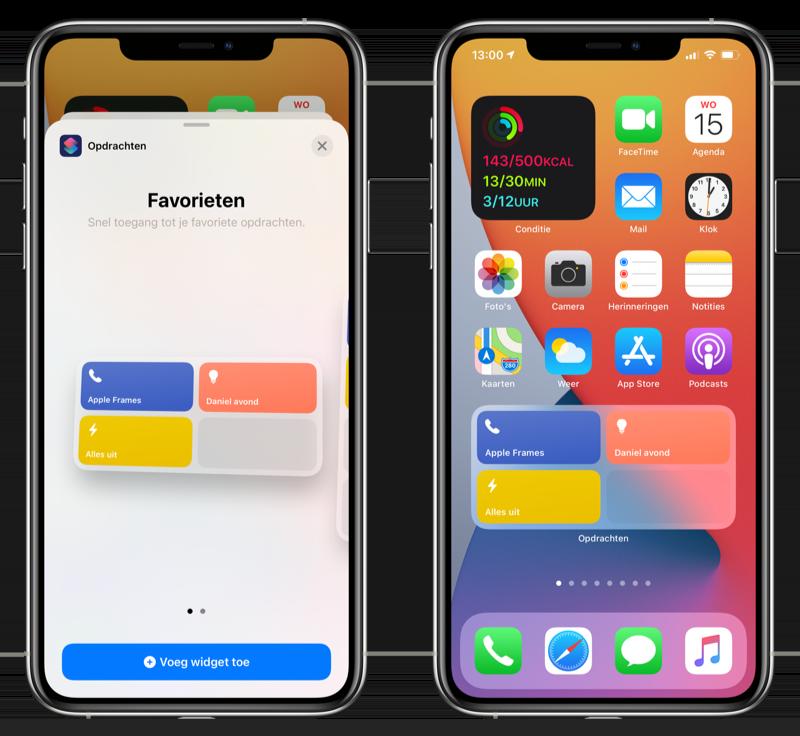Opdrachten widget in iOS 14