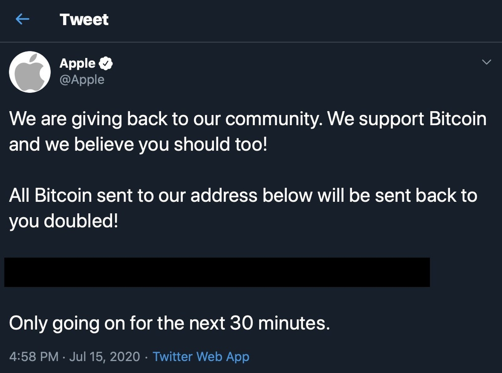 Apple Bitcoin hack