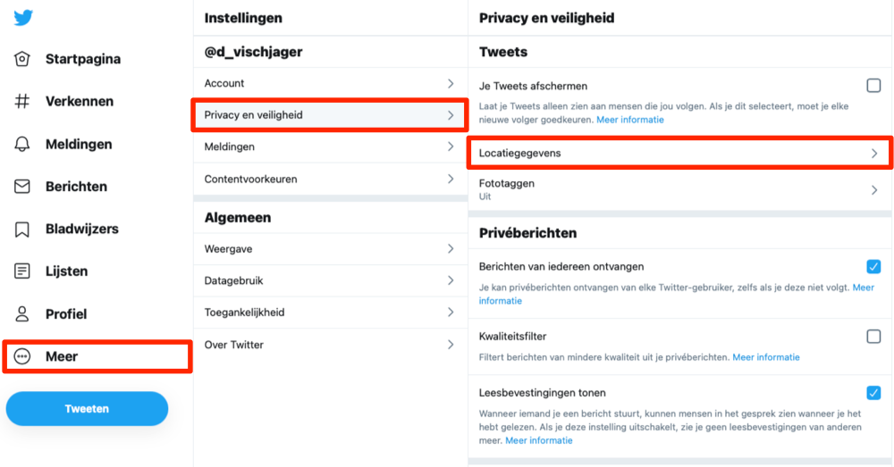 Twitter veilig gebruiken door locatie uit te schakelen