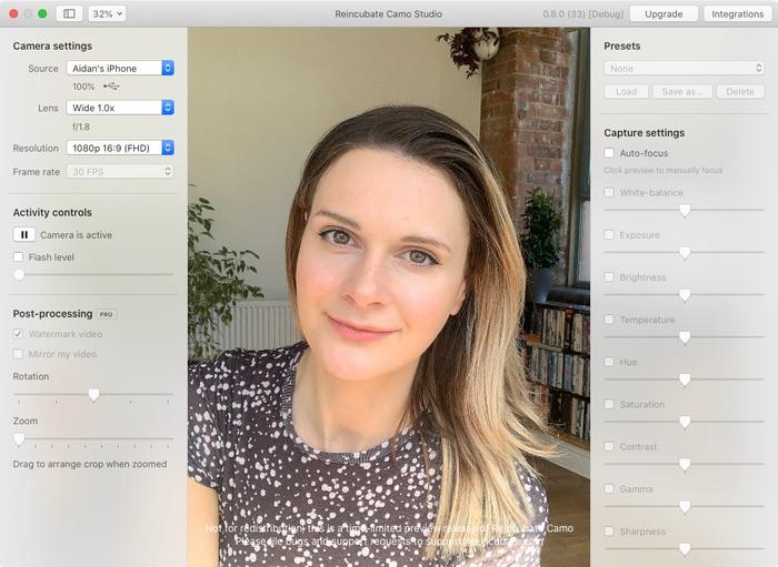 Camo webcam iPhone