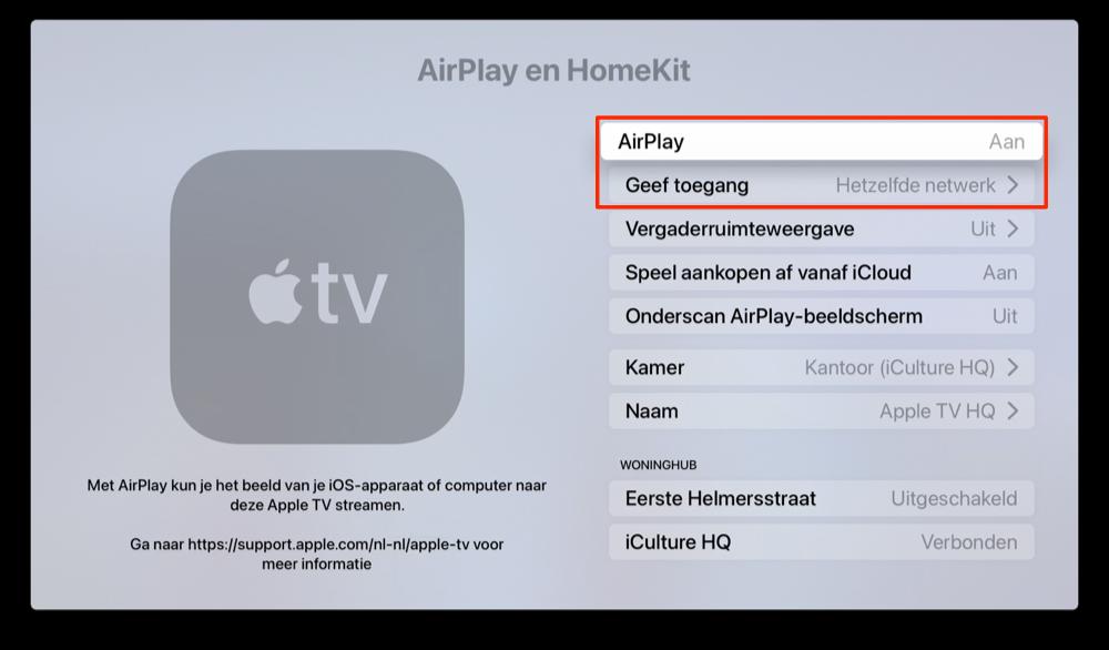 Apple TV AirPlay inschakelen