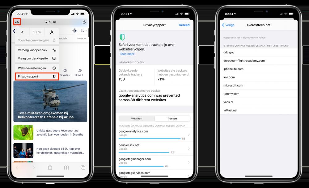Privacyrapport openen iOS 14