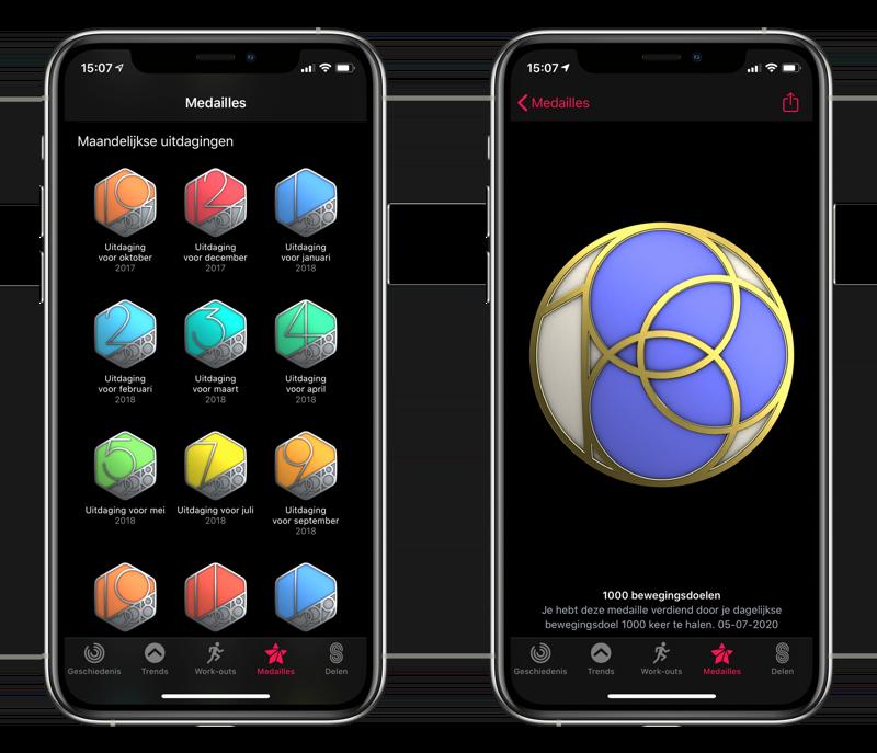 Apple Watch Activiteit en medailles.