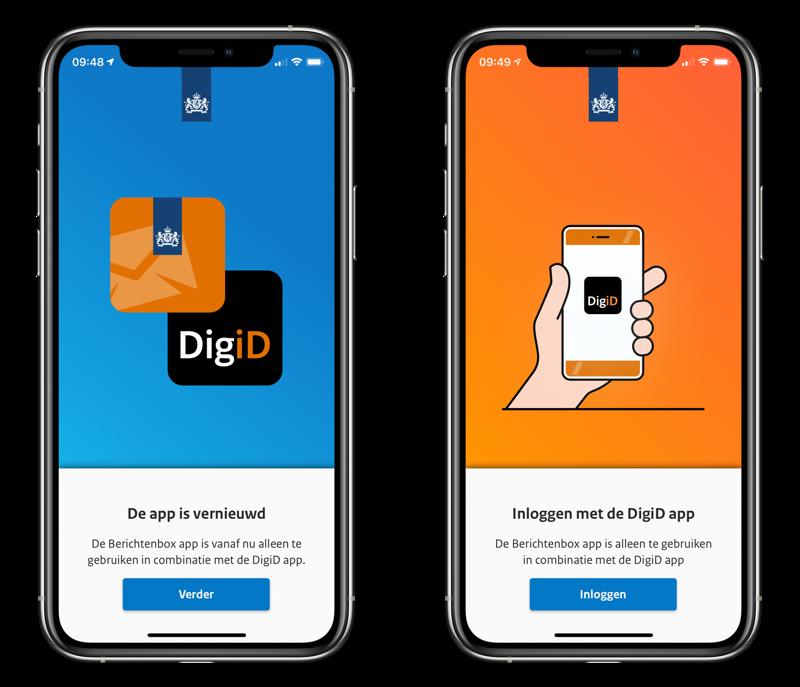 Berichtenbox-app: inloggen via DigiD-app.