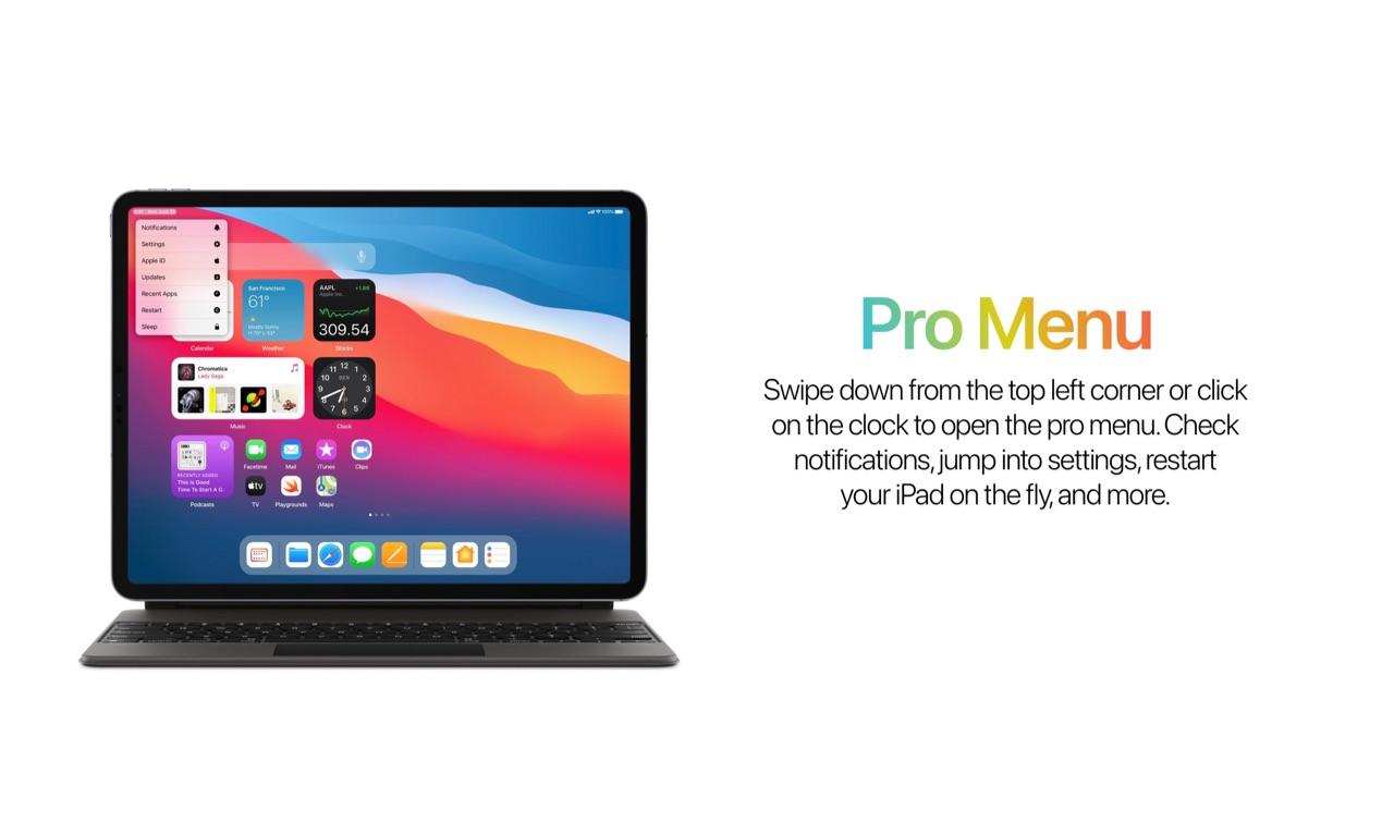 Concept iPad Pro Menu voor iPadOS 15.