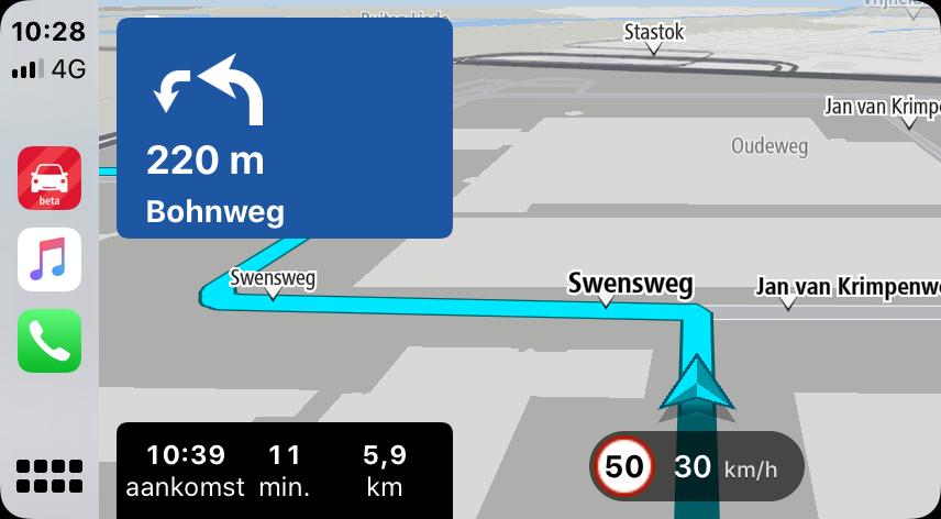 TomTom CarPlay navigatie.