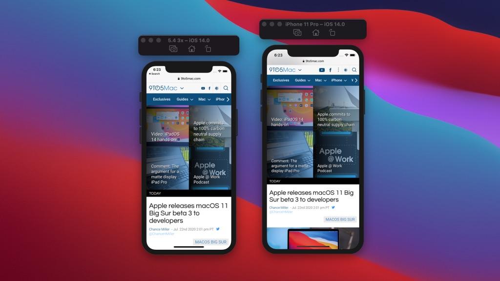 iPhone 12 weergave van iOS met Safari op kleiner 5,4-inch display.