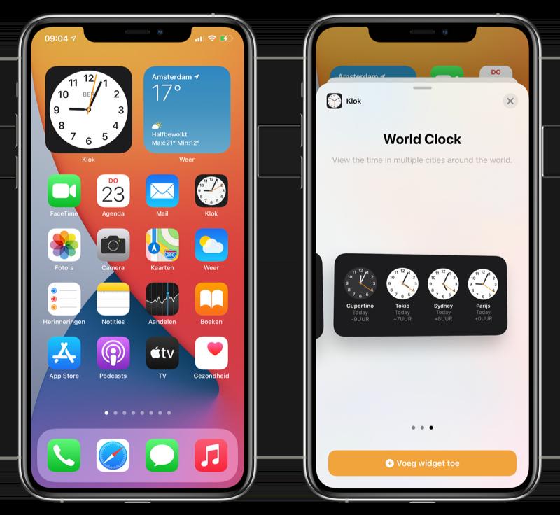 Klok-app widget iOS 14 beta 3